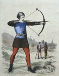Pedestrian archer in 13th century, illustration from 'Costumes de Paris a travers les siecles' by H. Gourdon de Genouillac, engraved by A. Renard Poster Art Print by French School