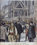 Strike in Paris, building site protected by the army, illustration from 'Le Petit Journal' Supplement illustre, 23rd October 1898, engraved by Henri Meyer Poster Art Print by P.J. Crook