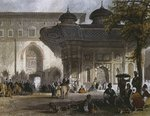 Imperial gate of Topkapi Palace and fountain of Sultan Ahmed III, Istanbul, 1839 Poster Art Print by Sir David Wilkie
