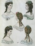 Hairstyles, illustration from 'La Mode illustree', 1860 Poster Art Print by Sir Frank Dicksee