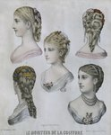 Hairstyles, illustration from 'Le Moniteur de la Coiffure', 10th December 1879 Poster Art Print by French School