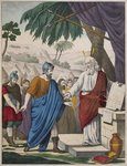 Joshua appointed by Moses as his successor, illustration from a catechism 'L'Histoire Sainte', published by Charles Delagrave, Paris, late 19th century Poster Art Print by French School