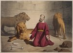 Daniel in the den of lions, illustration from a catechism 'L'Histoire Sainte', published by Charles Delagrave, Paris, late 19th century Poster Art Print by Anonymous