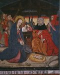 Nativity, panel from the Church San Andres of Tortura, late 15th century-early 16th century Poster Art Print by Mexican School