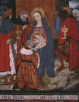 Adoration of the Magi, panel from the Church San Andres of Tortura, late 15th century-early 16th century Poster Art Print by Byzantine School