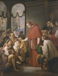 St. Charles Borromeo, archbishop of Milan, distributing alms to the poor, 1853 Poster Art Print by Heinrich Burkel