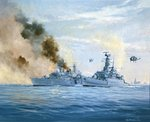 HMS Sheffield on fire, Falklands Islands Campaign Poster Art Print by William Heath