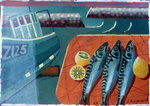 Three Mackerel Poster Art Print by Sara Hayward