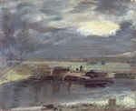 Barges on the Stour with Dedham Church in the Distance, 1811 Poster Art Print by Adrien Manglard