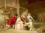 Fine Art Print of Group of musician actors gambling by Adolphe Francois Monfallet