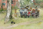 Breakfast under the Big Birch, from 'A Home' series, c.1895 Poster Art Print by Luigi Loir