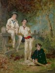 Three Young Cricketers, c.1883 Poster Art Print by English School