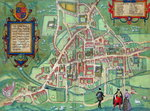 Map of Cambridge, from 'Civitates Orbis Terrarum' by Georg Braun Poster Art Print by Joris Hoefnagel