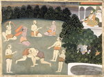 Athletes perform before a seated noble, c.1760 Poster Art Print by Mughal School