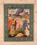 A noble youth with attendants in a landscape, from the Large Clive Album, c.1605 Poster Art Print by Mughal School