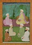 Six Muslim holy men seated on a garden terrace, from the Large Clive Album Poster Art Print by Mughal School