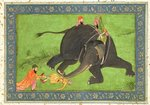Attendants rescue a fallen man from an enraged elephant, from the Large Clive Album Poster Art Print by Mughal School