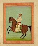 A Mughal Noble on Horseback, c.1790, from the Large Clive Album Poster Art Print by Indian School