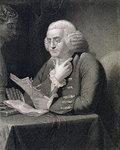 Portrait of Benjamin Franklin, engraved by Thomas B. Welch Poster Art Print by French School