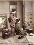 Hairdressing, Japan, c.1880 Poster Art Print by William Ireland