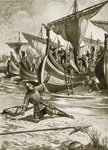 William stumbles upon landing on British soil, 28th September 1066, illustration from the book 'The History of the Nation' Poster Art Print by Clive Uptton