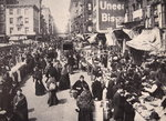 On New York's East Side Immigrants collected in numbers at Bowery, buying and selling, 1900s Poster Art Print by American Photographer
