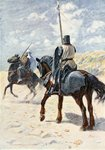 A Saracen approaches a Crusader Knight, illustration for 'The Talisman: A Tale of the Crusaders' by Sir Walter Scott Poster Art Print by English School