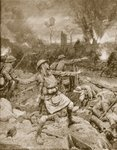 British Infantry Charge near Ypres in 1915 Poster Art Print by Indian School