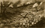 A Maelstrom of the Meuse: French Infantry debouching to attack a flaming ridge near Douaumont Poster Art Print by English School