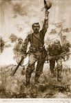 The Italians on the Isonzo front, Studies of Winning Spirit among the Allies Poster Art Print by English School