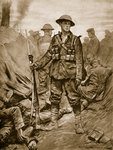 A British Soldier in a conquered enemy Trench: Quiet and steadfast and in triumph merciful Poster Art Print by English School