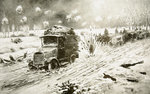 British Transport train making its way under heavy shell fire along the snow-bound Ypres roads Poster Art Print by Anonymous