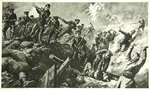 The Capture of the German trenches at Neuve Chapelle Poster Art Print by English School