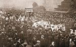 Procession to welcome Emmeline Pankhurst, Christabel Pankhurst and Mary Leigh on their early release from prison on 19th December 1908 Poster Art Print by English Photographer