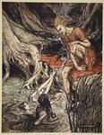 The Rhine's pure gleaming children told me of their sorrow, illustration from 'The Rhinegold and the Valkyrie', 1910 Poster Art Print by Arthur Rackham