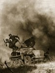 A crew jumps out of an armoured vehicle during the attack on Soviet field positions, 1941-4 Poster Art Print by German Photographer