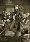 Disraeli's first speech in the Commons, illustration from 'Hutchinson's Story of the British Nation', c.1923 Poster Art Print by Sir Joshua Reynolds