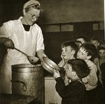 Children waiting patiently for soup Poster Art Print by Dutch Photographer