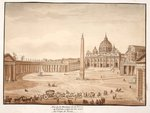 View of St. Peter's Basilica in the Vatican, built on the ruins of the Circus of Nero, 1833 Poster Art Print by French School