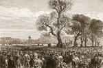 Meeting at the Reformer's Tree, Hyde Park London, 1867, illustration from 'Cassell's Illustrated History of England' Poster Art Print by Lesueur Brothers