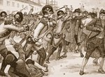 Affray at Boston between the soldiers and rope-makers, 1770, illustration from 'Cassell's Illustrated History of England' Poster Art Print by Charles Monnet