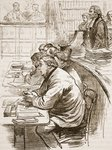 The Tichborne claimant in court, illustration from 'Cassell's Illustrated History of England' Poster Art Print by Miller