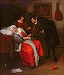 The Doctor's Visit, c.1663 Poster Art Print by Clive Uptton