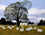 Sheep at Middleton Park, Oxfordshire Poster Art Print by English School