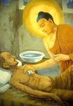 Buddha tending a man with smallpox, from a Buddhist temple Poster Art Print by Henriette Browne