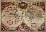 A New Land and Water Map of the Entire Earth, 1630 Poster Art Print by Nicolaes the Elder Visscher