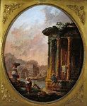 Temple of Vesta and the Arch of Janus Quadrifons Poster Art Print by Jacques Francois Joseph Swebach