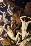 Hell, detail of a demon hitting the damned, c.1450 Poster Art Print by Rogier van der Weyden