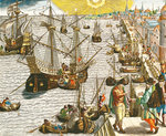 Departure from Lisbon for Brazil, the East Indies and America, illustration from 'Americae Tertia Pars...', 1592 Poster Art Print by Hendrik van Minderhout
