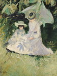 Madame Helleu and her Daughter at the Chateau of Boudran Poster Art Print by French School